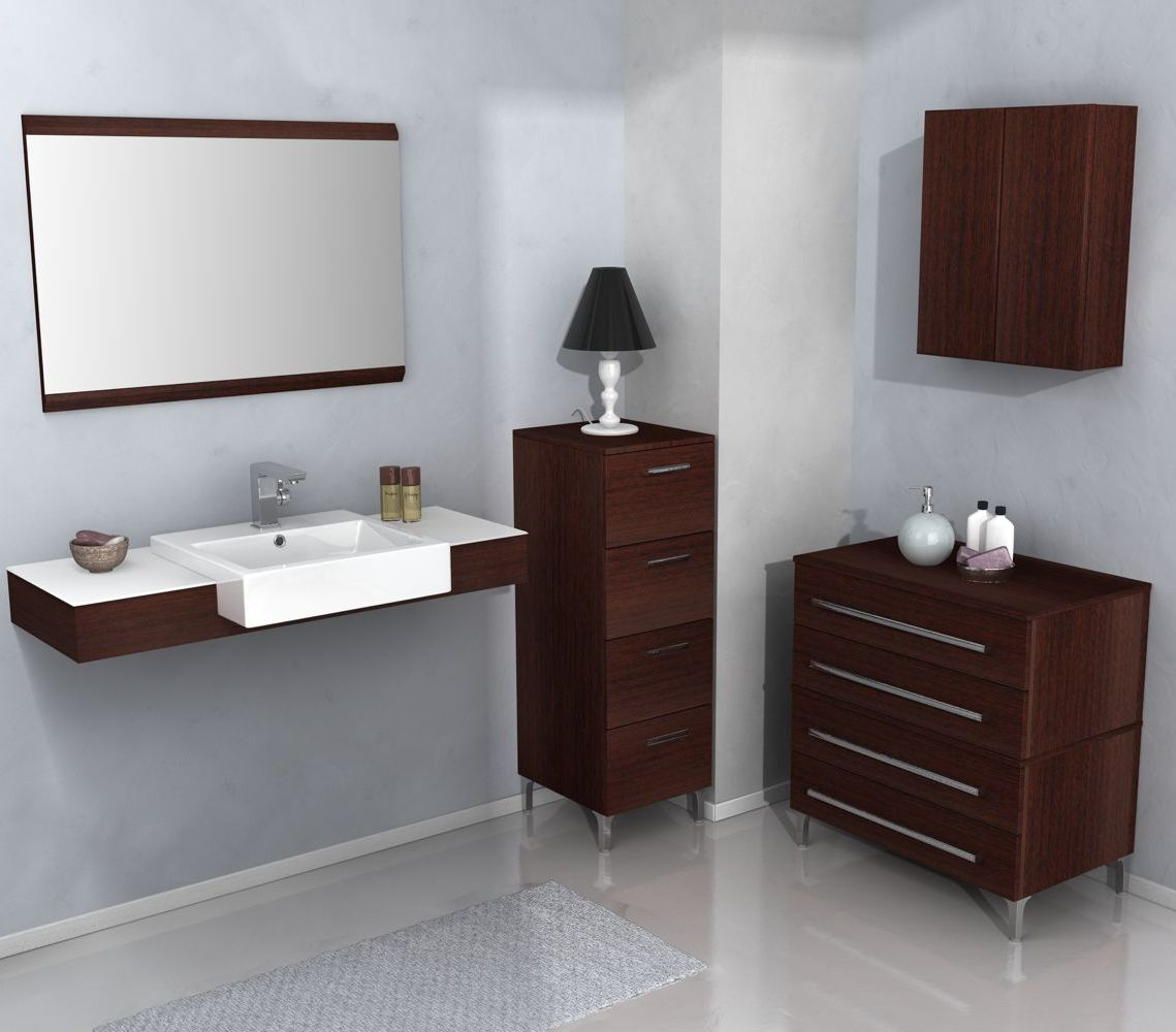 Mobile da bagno in wenge con top in corian e lavabo in for Cassettiera bagno ikea