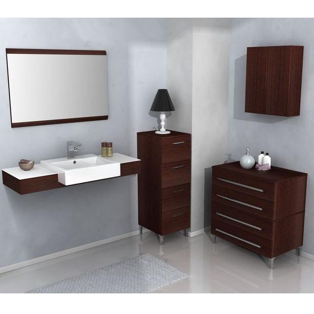 Mobile da bagno magnum 110 cm color weng scuro e chiaro bh for Piccoli mobili da bagno