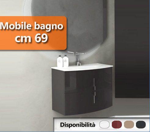 mobile bagno moderno sting 69 cm in 4 colori arrotondato bh - Arredo Bagno Stondato