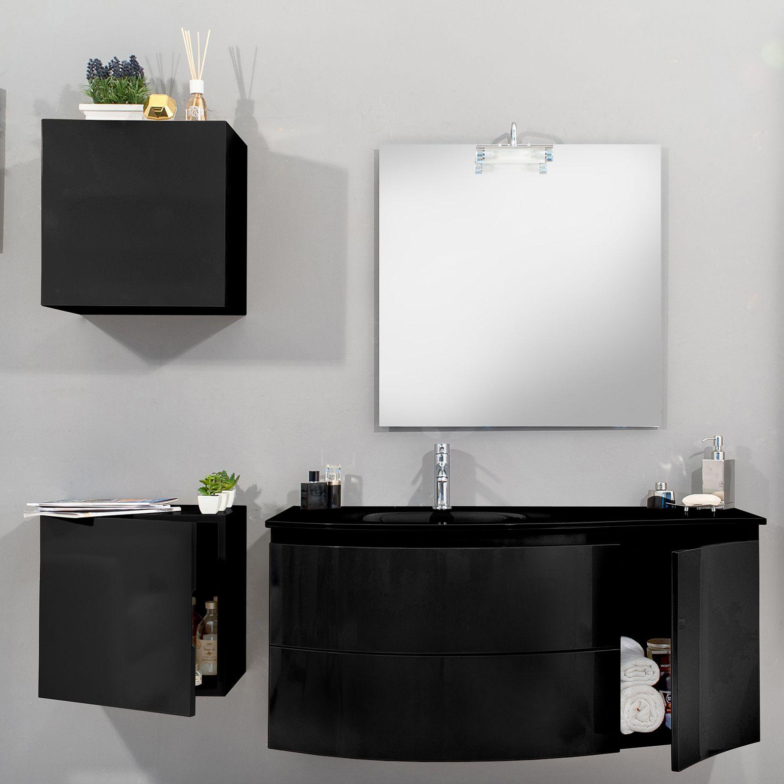 Arredobagno asia 2 cm 90 o 110 con lavabo in cristallo - Mobile bagno nero lucido ...