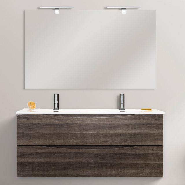 Mobile bagno cm 120 con doppio lavabo color rovere effetto legno con due cassettoni chiusura - Mobile bagno rovere ...