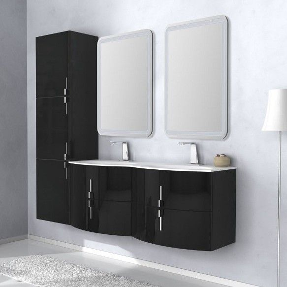 Mobile bagno sting 134 cm in 4 colori con doppio lavabo bh - Mobile bagno con doppio lavabo ...