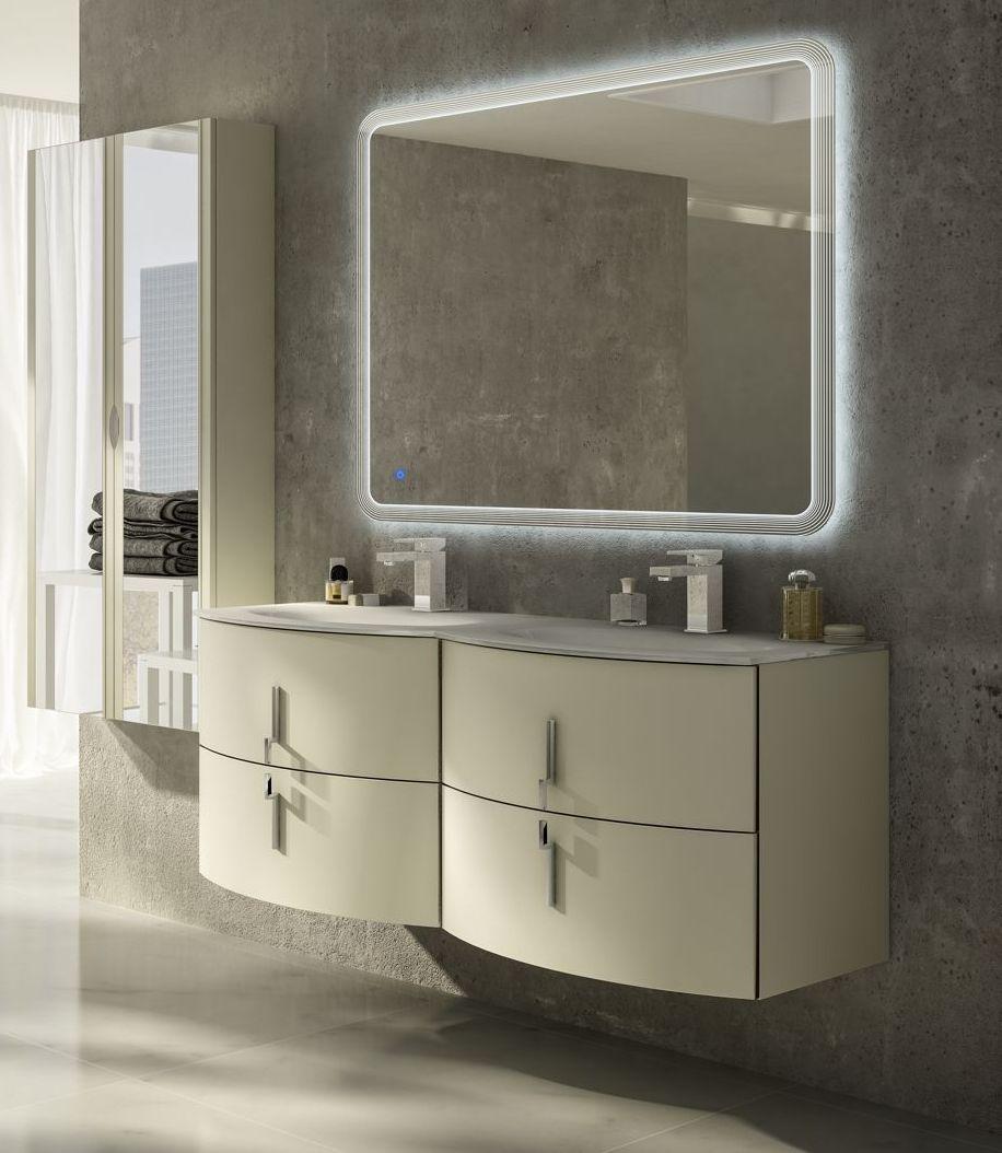 Mobile bagno sting 134 cm in 4 colori con doppio lavabo bh - Mobile bagno doppio lavabo 140 ...