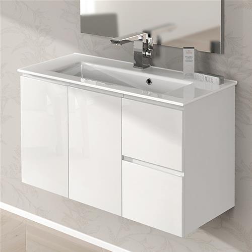 mobile bagno giulia cm 100 bianco lucido e grigio talpa ultra slim - Lucido Cabinet Grigio Lavandino