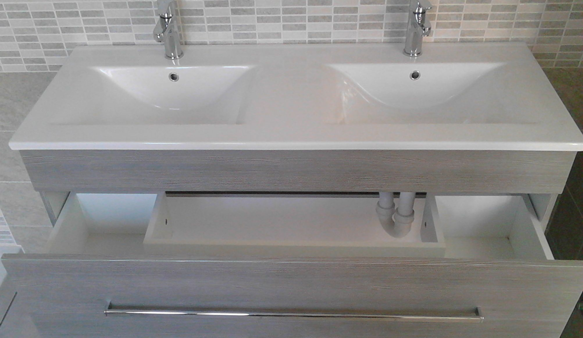 Mobile bagno sirio doppio lavabo cm 120 con 2 colori e lavabo di ceramica - Lavabo angolare bagno ...