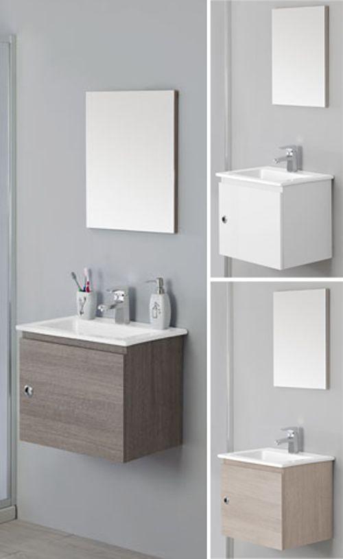 Arredo bagno mobile 50cm sospeso moderno con un anta e - Mini lavabo bagno ...