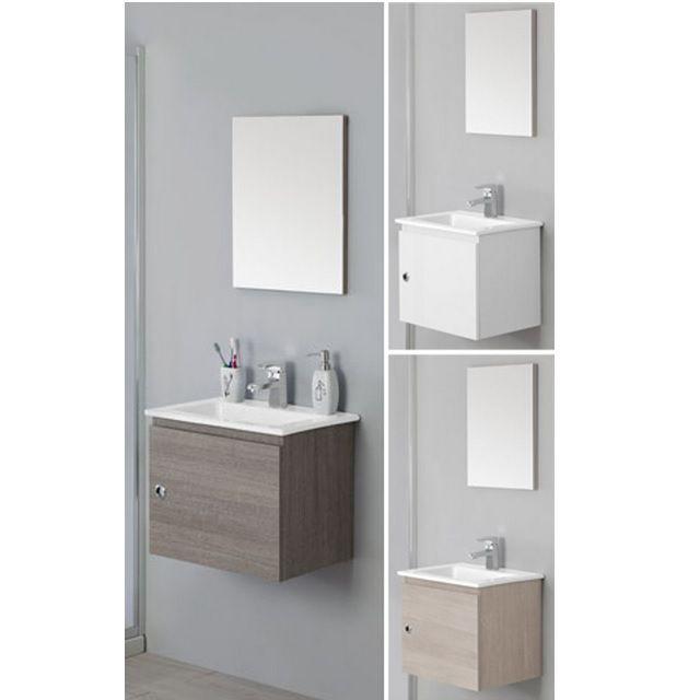 Arredo Bagno Mobile Silver cm 50 sospeso moderno con un anta e lavabo ...