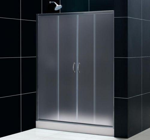 Porta per doccia a nicchia 2 ante scorrevoli cristallo opaco pa - Porta doccia vetro ...