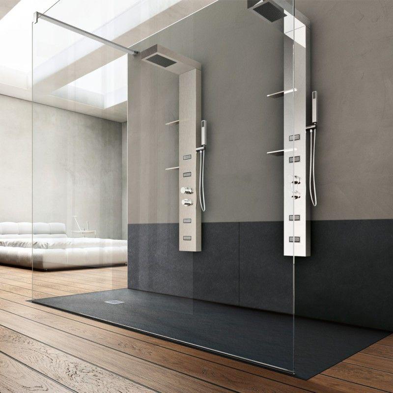 Piatto doccia marmo resina 3cm con piletta sifonata in 6 - Dimensioni piatto doccia rettangolare ...