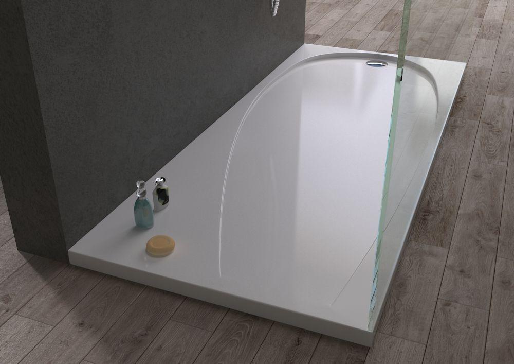 Piatto doccia ultra flat acrilico bianco effetto lucido moderno rinforzato f ebay - Doccia senza piatto doccia ...