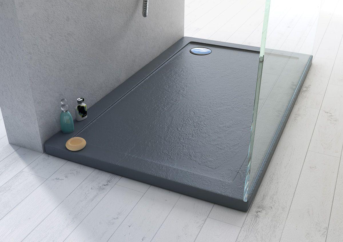 Piatto doccia in acrilico abs antiscivolo effetto pietra colore antracite in diverse misure - Piatto doccia incassato nel pavimento ...