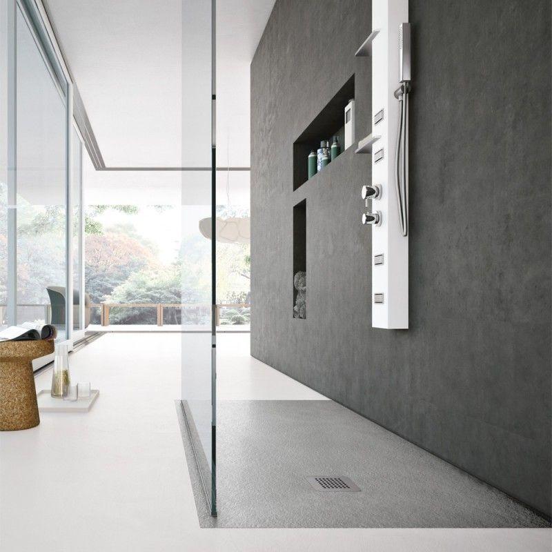Piatto doccia marmo resina 3cm con piletta sifonata in 6 colori e varie misure effetto ardesia