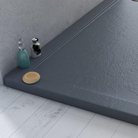 Piatto doccia in acrilico ABS antiscivolo effetto pietra colore antracite in diverse misure