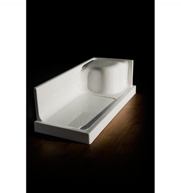 Piatto doccia sostituisci vasca rettangolare in acrilico rinforzato bianco lucido in 3 misure