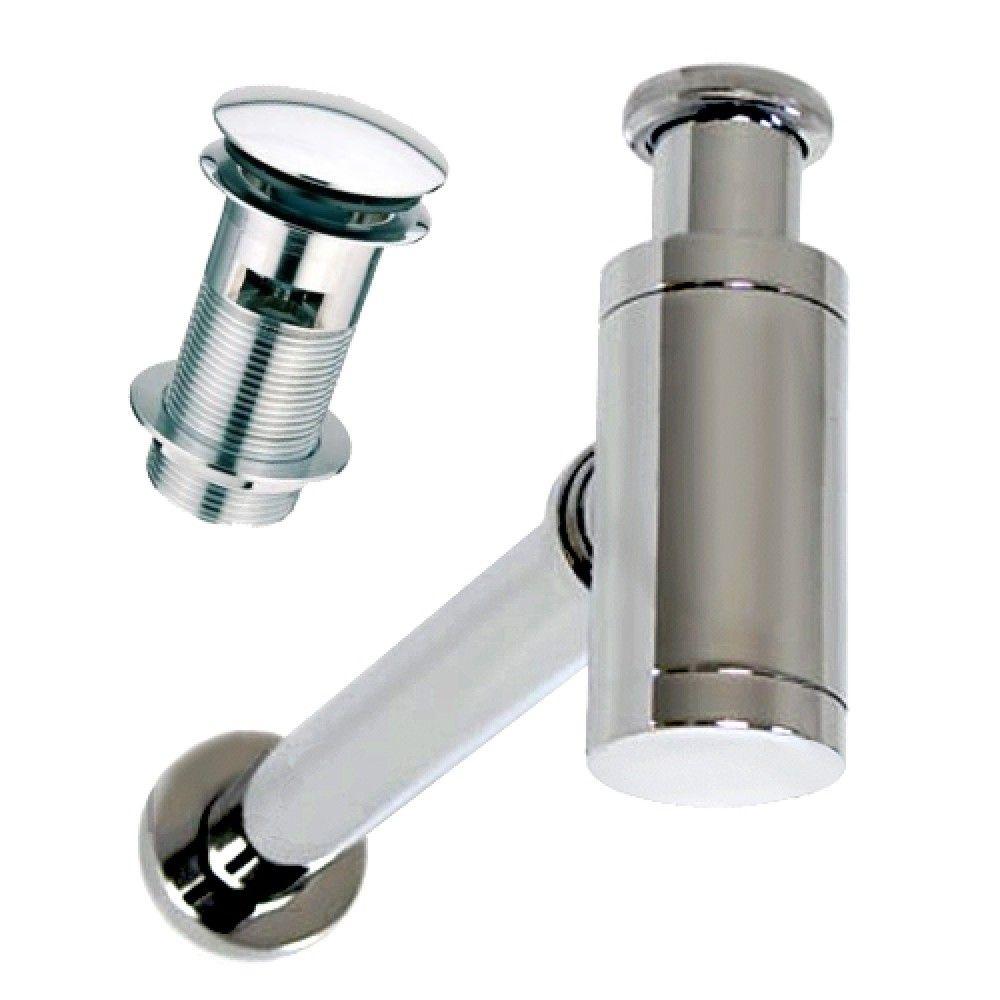 Kit per lavabo d\'appoggio con sifone e piletta rotonda clip clap