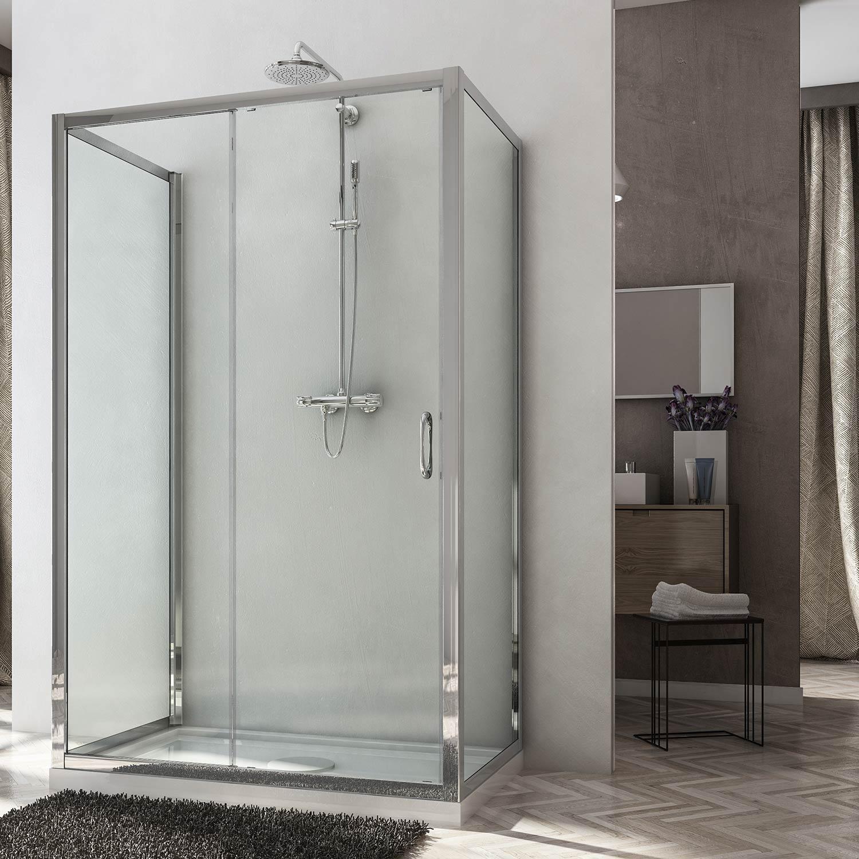 Box doccia due ante fisse e anta fissa con porta - Cabina doccia 70x120 ...