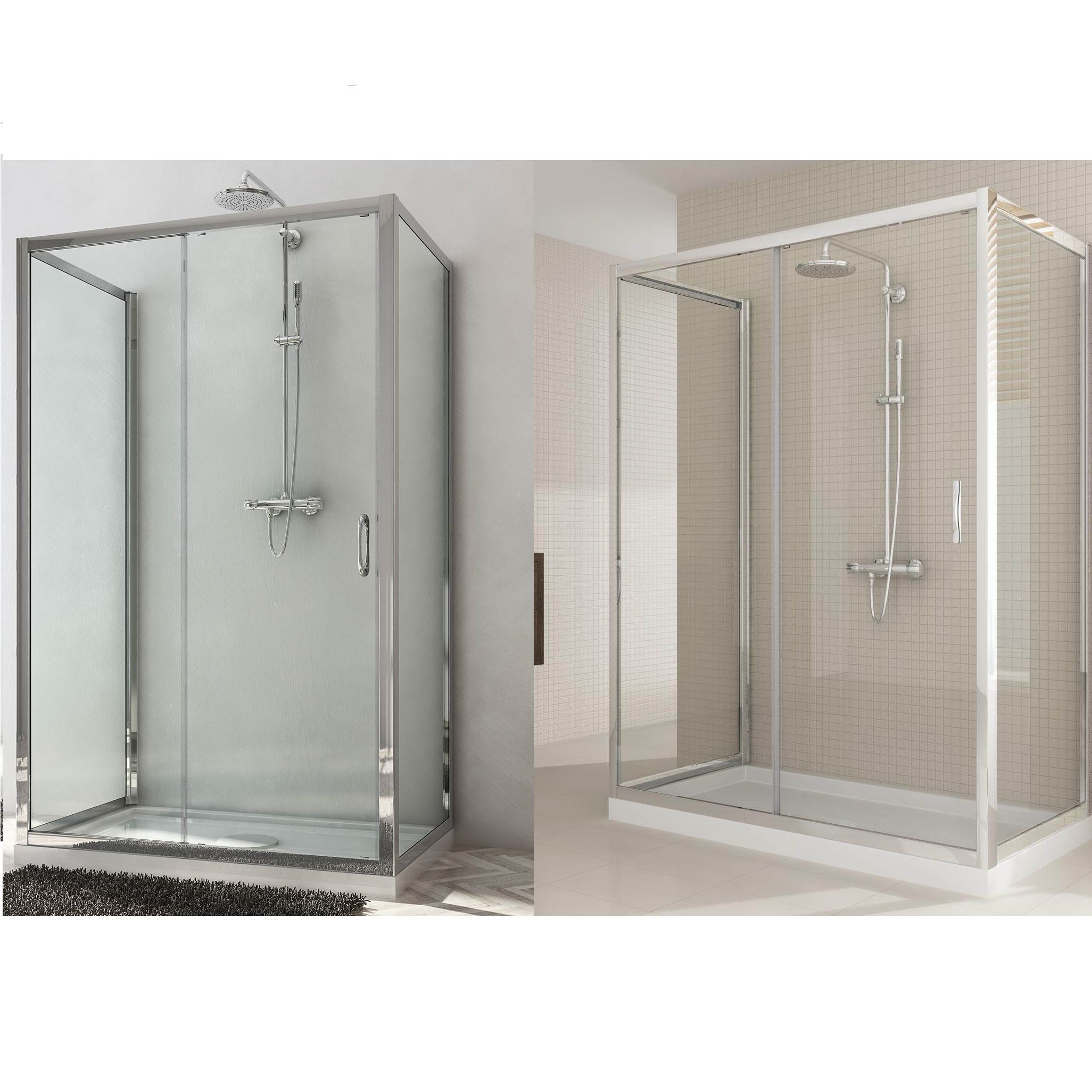 Box doccia due ante fisse e anta fissa con porta scorrevole altezza 185 198 cm cristallo - Porta in cristallo scorrevole ...