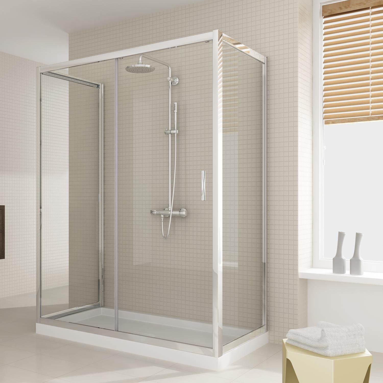 Box doccia due ante fisse e anta fissa con porta - Box doccia chiuso sopra ...