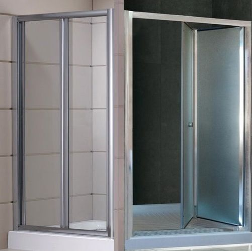 Porta doccia per nicchia apertura a soffietto o libro vetro opaco o trasparente hd