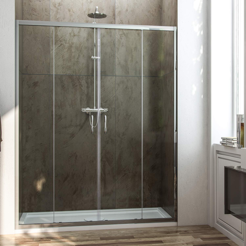 Porta doccia con due ante scorrevoli per nicchia h 185 198 - Porta in cristallo scorrevole ...