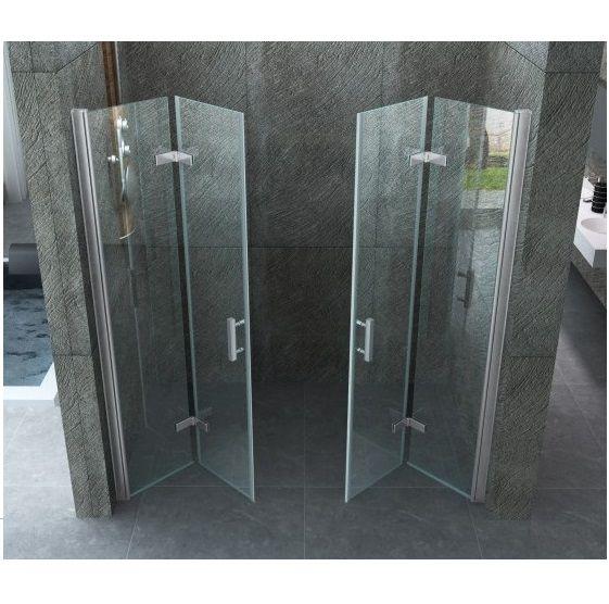 porta doccia doppia a libro cristallo trasparente 8mm con