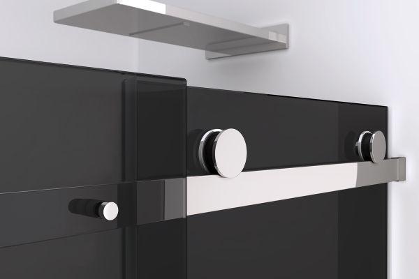 Porta doccia parete fissa anta scorrevole h200 cristallo 8mm fum - Dettaglio porta scorrevole ...