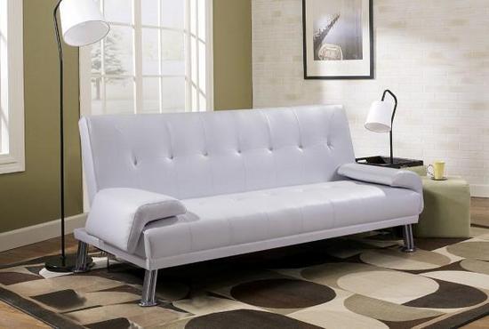 Divano letto sibilla 194x110x40 in ecopelle bianco o nero reclinabile 3 posti - Divano ecopelle bianco ...