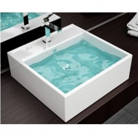 Lavabo d 39 appoggio per mobile bagno rettangolare - Miscelatore bagno moderno ...