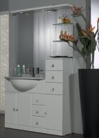 Mobile Bagno Cleo cm 80+30 con lavabo sottopiano bianco lucido