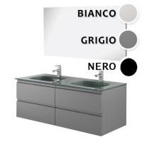 arredo bagno mobile black cm 120 doppio lavabo in cristallo disp nero grigio e bianco offerta