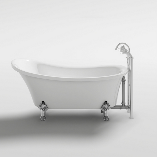 Vasca da bagno ovale freestanding stile classico piedini cromati - Vasca da bagno ovale ...