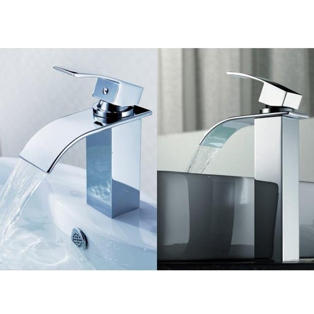 Rubinetto miscelatore con getto a cascata per lavabo d 39 appoggio rb101 - Rubinetto bagno cascata ...