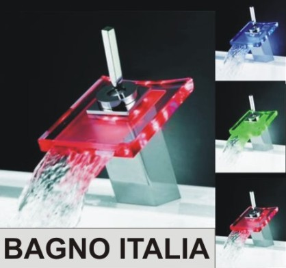 Rubinetto Miscelatore a Cascata in Vetro, con LED
