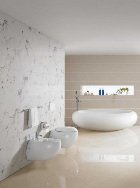 Coppia sanitari vaso bidet ovali ceramica filo muro a for Misure sanitari sospesi