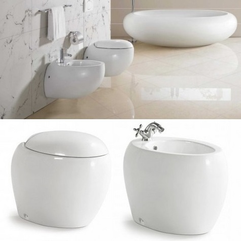Sanitari ester wc bidet ovali a terra o sospesi filo muro - Sanitari bagno filo muro ...