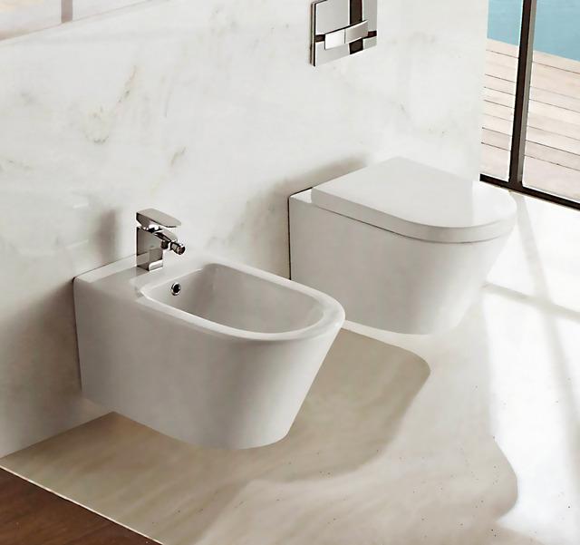 Coppia sanitari squadrati ceramica sospesi vaso bidet filo for Tazza del bagno