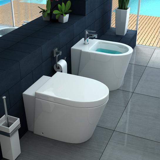 vaso wc e bidet sospeso o a terra ceramica bagno italia con coprivaso soft close mod icra