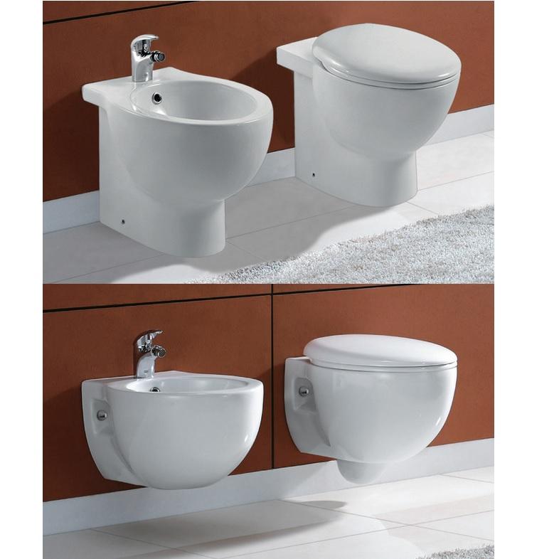 Sanitari sospesi o a terra wc e bidet con copriwater con