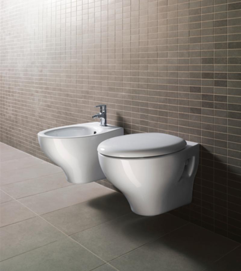 Coppia Sanitari in ceramica GSI WC e Bidet copri water bianchi ...