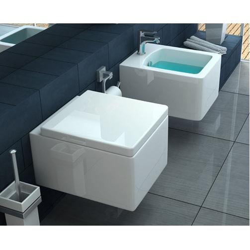 Sanitari sospesi modello skai wc e bidet squadrati con - Posizione sanitari bagno ...