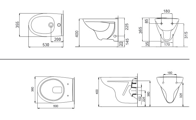 bidet e vaso wc sanitari sospesi moderni ceramica roca
