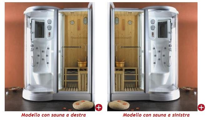 Box doccia idromassaggio 168x95cm con sauna e cromoterapia vi