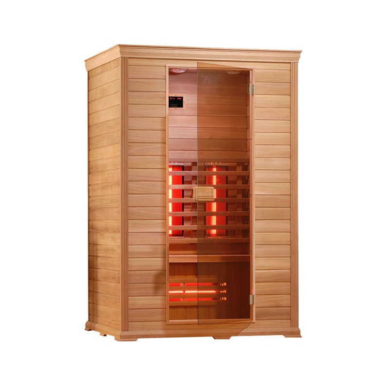 sauna infrarossi 130x100 in cedro per due persone con radio cromoterapia cd. Black Bedroom Furniture Sets. Home Design Ideas