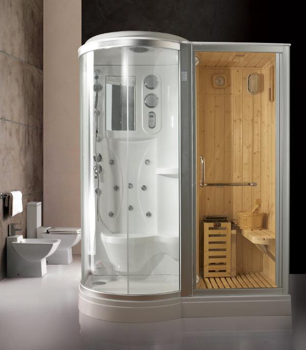 Box doccia idromassaggio 168x95cm con sauna e cromoterapia vi for Box doccia con idromassaggio