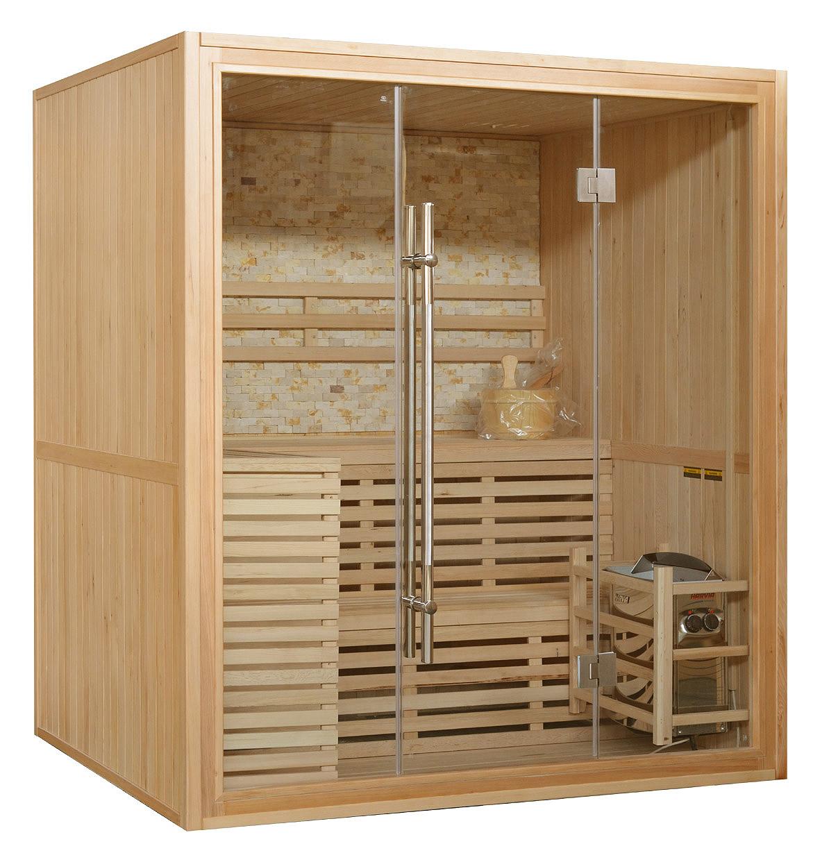 Sauna Finlandese 150x120 o 180x150 Pannello in pietra e facciata in cristallo