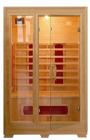 Sauna Infrarossi 120x100 con ante a vetro struttura in legno per due persone