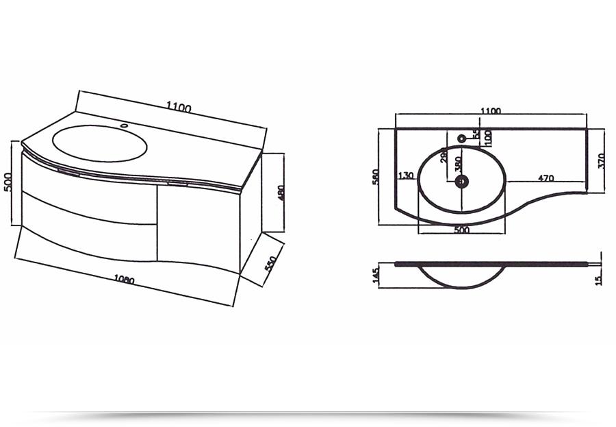 Mobile bagno asia3 110 cm con lavabo in cristallo decentrato in diversi colori - Mobile bagno misure ...