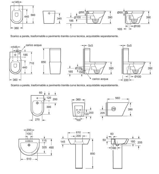 Coppia sanitari galaxy versione a terra vaso con bidet e coprivaso con chiusura ammortizzata for Sanitari bagno misure ridotte