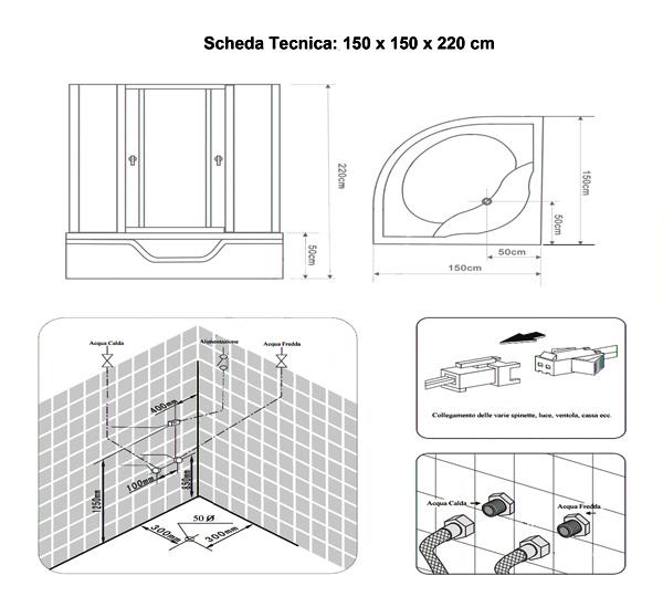 Box doccia idromassaggio 150x150x230h per due persone full for Mito idro edilkamin scheda tecnica