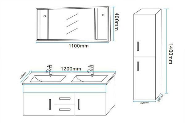 Mobile bagno taiti 120 cm bianco o nero doppio lavabo in for Mobile bagno misure